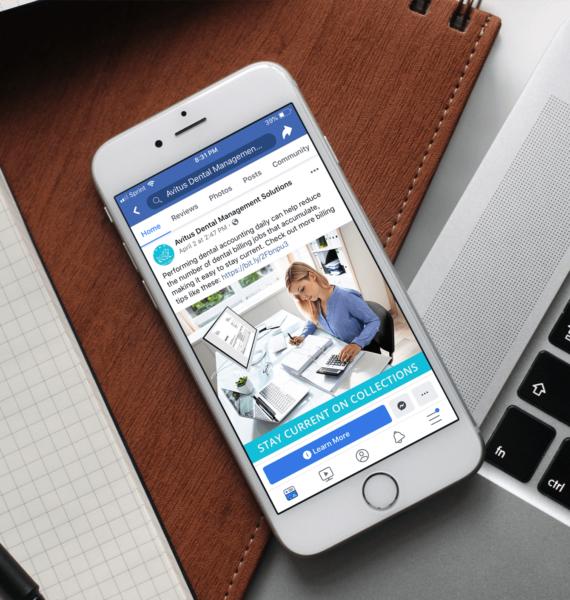 Avitus Dental Facebook Ad on a Mobile Device