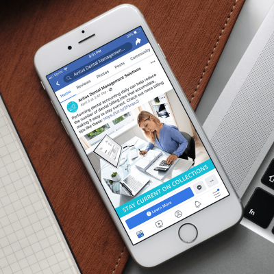 Avitus Dental Facebook Ad Mockup on a Mobile Device