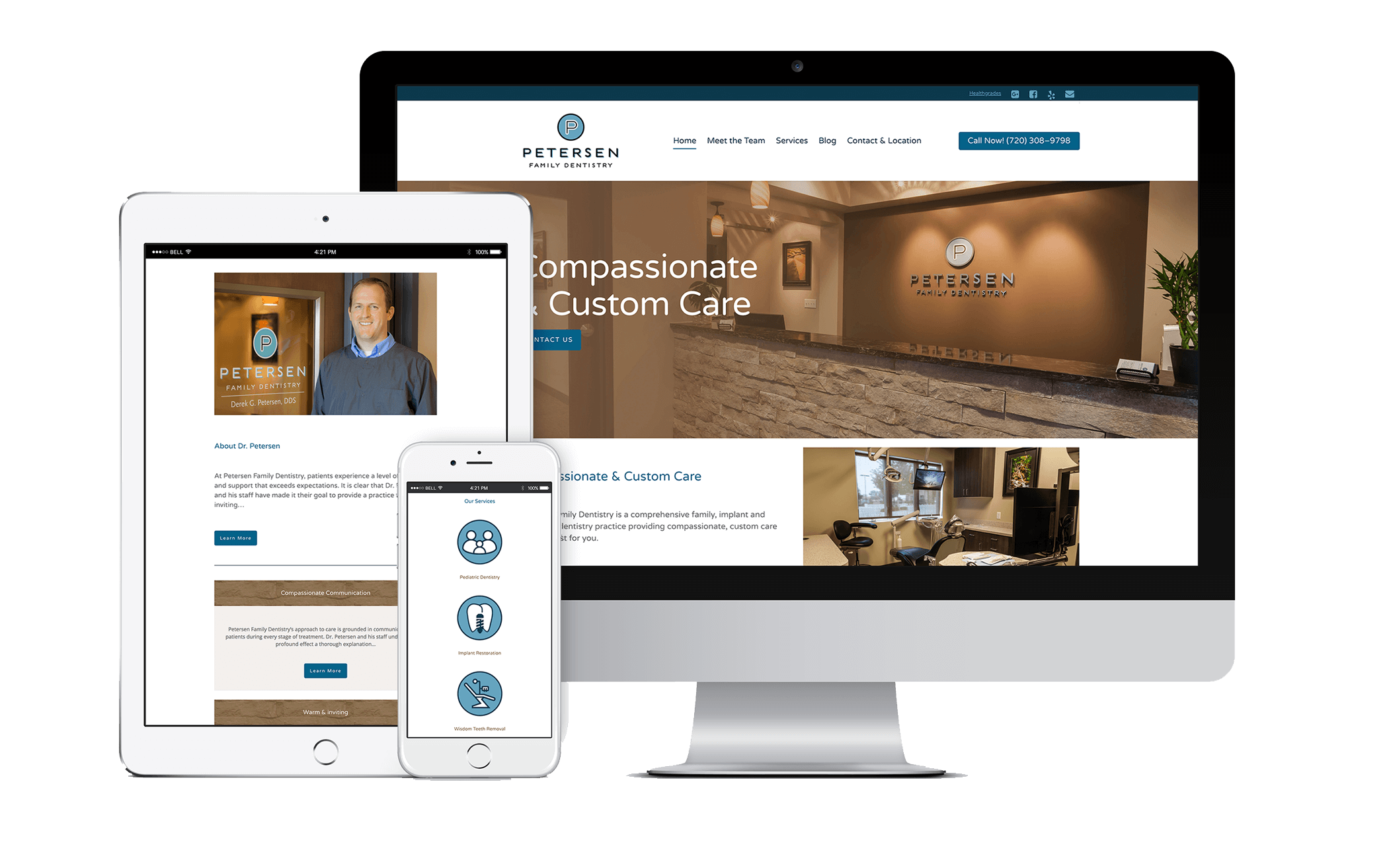 Petersen Family Dentistry Website on Multiple Devices