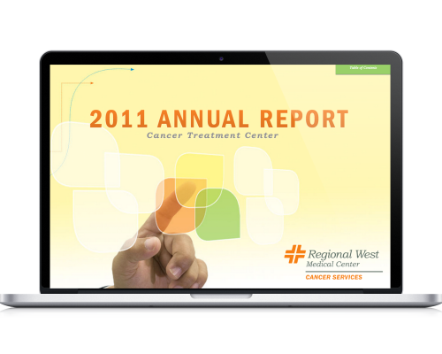 Regional West Medical Center 2011 Annual Report Sample on a Laptop