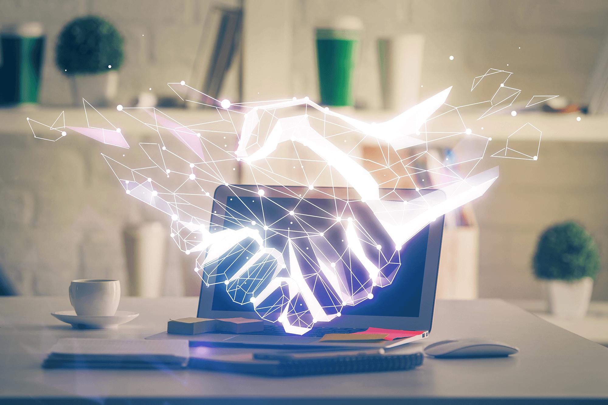 digital handshake graphic