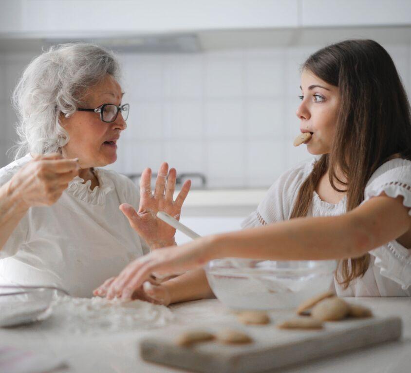 Senior living resident and team member connecting