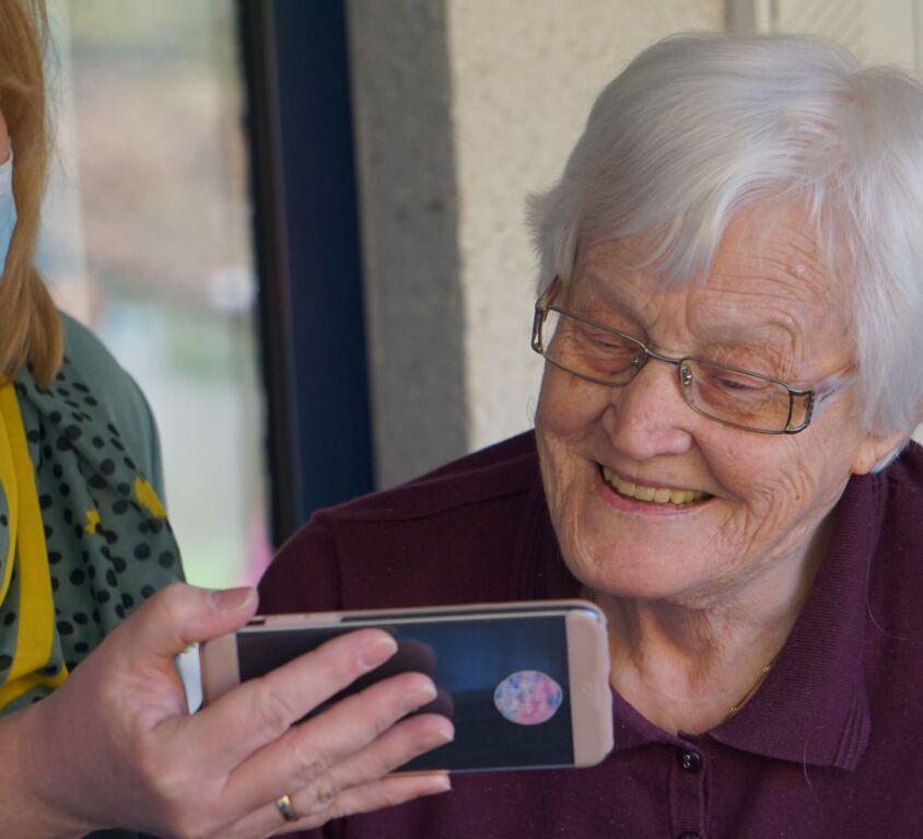 Senior living associate and resident