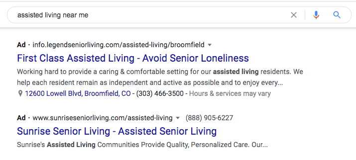 Examples of senior living pay per click